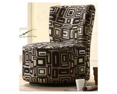 Easton Swivel Lounge Chair in Brown Geometric Pattern - front living room