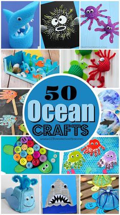 50 Ocean Crafts for Kids is part of Kids Crafts Ocean Art Projects Explore the ocean with these cute creative Ocean Crafts for Kids Kids of all ages will love these fish, shark, octopus, crab, turt - Summer Art Projects, Summer Crafts For Kids, Craft Projects For Kids, Crafts For Teens, Art For Kids, Summer Crafts For Preschoolers, Craft Ideas, Art Projects For Kindergarteners, Art Project For Kids
