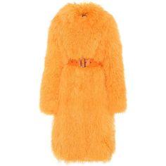 Saks Potts Rosti Shearling Coat ($1,345) ❤ liked on Polyvore featuring outerwear, coats, jackets, saks potts, orange, shearling coat, orange coat, saks potts coat and sheep fur coat
