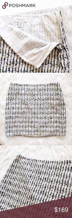 "• Escada • Wool Tweed Skirt Stunning Escada skirt made of virgin wool, this screams couture! 14.5"" waist. 16"" length. Escada Skirts Mini"