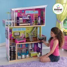 MiPetiteLife.es - Casa de Muñecas Moderna.  Suficientemente grande como para que puedan jugar varias niñas a la vez.  Para muñecas de hasta 30 cm de altura.  Marca: KidKraft.  www.MiPetiteLife.es