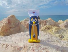 Blue and Yellow Decorative Doctor Appreciation Penguin with Stethoscope/ Penguin Medical School Gift/ Custom Novelty Graduation Gift