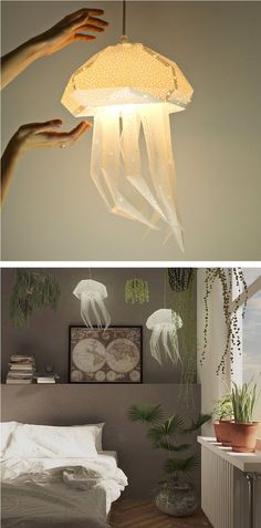 DIY lamps inspired by aquatic creatures // paper lamps // available on Etsy