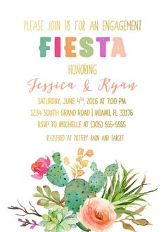 Break out the margaritas and dig into some decadent enchiladas at a patio fiesta for your engagement party! This invitation is full of sweet, juicy colors and gold accents.