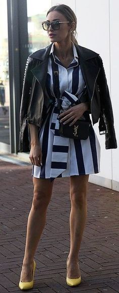 #street #style #fashion #fblogger #spring #outfitideas | Black Leather + BW Stripes + Pop Of Yellow | Iona Chisiu