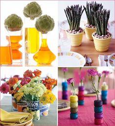Art centerpiece ideas for an organic themed party entertaining