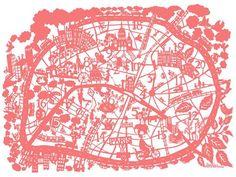 Køb Famille Summerbelle: City map of Paris - print (coral) (42 x 59.4 cm) her - Mimi´s Circus
