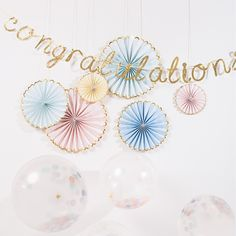 Meri Meri Pastel Pinwheels (Set of Party Pinwheels in Mint - Peach - Yellow - Blue with Gold Foil Scallop, Paper Fans Backdrop Wedding Chair Signs, Wedding Chairs, Party Decoration, Bridal Shower Decorations, Wedding Decorations, Wedding Ideas, Pastell Party, Pinwheel Decorations, Hanging Decorations