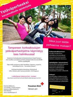 TYÖT ESIIN: Olen vastannut Unipoli Tampere Ystäväperhetoiminnan konseptisuunnittelusta, toiminnan käynnistämisestä, kehittämisestä ja koordinoinnista vuosina 2012-2014. Ystäväperheohjelma on suunnattu kansainvälisille opiskelijoille ja paikallisille perheille, yhteistyössä SPR Hämeen piirin kanssa. Vastasin myös ohjelman markkinointimateriaalien tuottamisesta, markkinoinnin toteuttamisesta, ohjelmaan osallistuvien perheiden ja opiskelijoiden värväämisestä ja yhteisten tapaamisten…