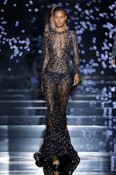 Zuhair Murad 2016 Haute Couture Collection - Coal black Chantilly lace sheath dress with cosmic crystal constellation embroidery