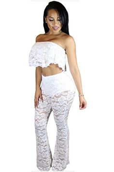 Womens Fashion Folds Lace Sexy Women Crop Tops High Waist Casual Wide Leg Women Pants Twopiece Set White >>> Check out the image by visiting the link.(This is an Amazon affiliate link and I receive a commission for the sales)