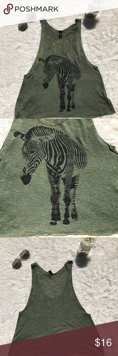 Olive Green Windsor Tank with Zebra Design Olive green tank with zebra design on front. A thin Polyester material. Perfect to wear with a lace bralette since the sides are on the lower side. Size Medium. Windsor Tops Tank Tops