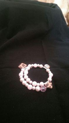 Bracelet, leopard print, pink, sparkle, girls bracelet. Polymer clay charms
