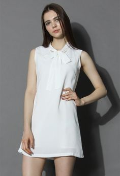 Timeless Elegance Shift Dress in White - New Arrivals - Retro, Indie and Unique Fashion