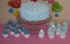 Fake Faux Shabby Cottage Blue Rosette Cake with Fairy Dust perfect  Home Decor Centerpiece, Shabby Cottage, Stage, Photo Prop on Etsy, $44.00