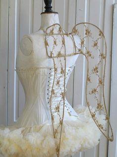 golden angel wings w/ballerina costume