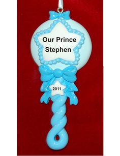 Baby Boy Rattle - Personalized First Christmas Ornament