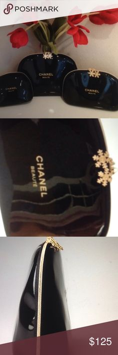 ☎️ 1 Hr Sale☎️ Chanel makeup bag set 3 New in the bag never used very pretty set . It's a cc beauty set Chanel Makeup Bronzer