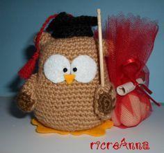 Gufo crochet per bomboniera laurea !!! | ricreAnna - Creazioni all'uncinetto