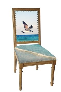 New Series: Flying Bird SAMPLE SALE. Individually hand crafted solid wood chair is created utilizing the fine art photography of artist Jennifer Gr...