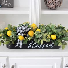 Reserved Listing for Rebecca~Farmhouse Decor~Faux Lemon Centerpiece~Long Table Centerpiece~All Year Round Arrangement~Faux Lemon Stems Lemon Centerpieces, Dining Room Table Centerpieces, Table Decorations, Centerpiece Ideas, Lemon Kitchen Decor, Farmhouse Kitchen Decor, Yellow Kitchen Decor, Rustic Italian, Italian Home