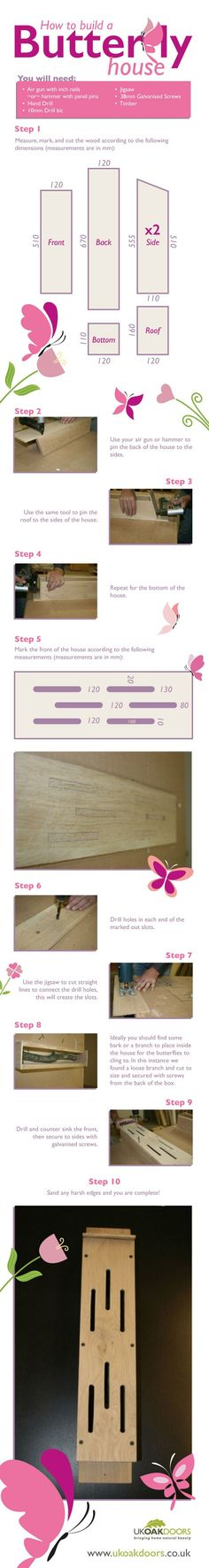 How to build a butterfly house in ten simple steps - with photos #butterflies #DIY #infographics