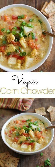 Vegan Corn Chowder - a lightened up, healthy version of the classic soup Veggie Recipes, Soup Recipes, Whole Food Recipes, Vegetarian Recipes, Cooking Recipes, Healthy Recipes, Recipes Dinner, Chowder Recipes, Vegan Recipes