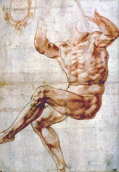 Study for the Nude Youth over the Prophet Daniel Michelangelo Buonarroti (Italian, Date: Medium: red chalk over black chalk Human Figure Drawing, Life Drawing, Drawing Sketches, Painting & Drawing, Figure Drawings, Michelangelo, Anatomy Drawing, Anatomy Art, Photos Corps