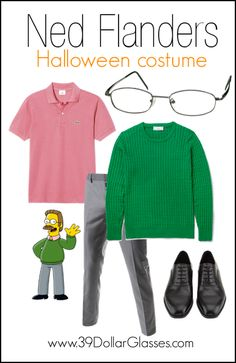 Hidey ho neighbors! Check out how to put together this scrum-diddly-umptious DIY Ned Flanders costume! Just add Boston frames from 39DollarGlasses!