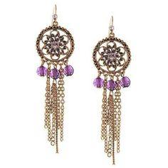 1928 Jewelry - Copper-Tone Purple Chain Drop Earrings ($24) ❤ liked on Polyvore featuring jewelry, earrings, drop earrings, sparkly earrings, beaded medallions, floral drop earrings and amethyst jewelry