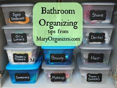 Bathroom Organizing Tips - I love the idea of the shoe box sized storage bins.  Dollar Tree sells these for a buck!  Perfect organization solution and CHEAP!  Winning!!