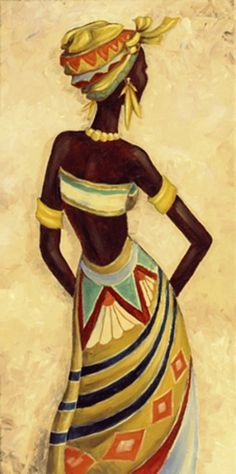 A. S.: African Femme I - Original auf Leinwand 80 x 40 cm