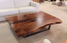 Urban Hardwoods® Seattle, walnut slab coffee table - I love the live edge! Live Edge Furniture, Rustic Furniture, Furniture Making, Furniture Design, Outdoor Furniture, Coffee Table With Storage, Coffee Table Design, Furniture Collection, Wood Design