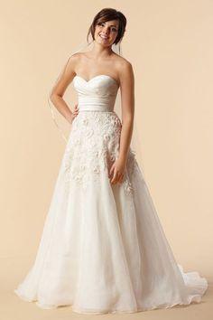 A-line Empire Sweetheart Chiffon with Beading Wedding Dress White