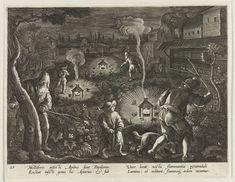 C. Galle   Jacht op nachtvlinders, C. Galle, Philips Galle, Cornelis Kiliaan, 1594 - 1598   Op een veld slaan enkele mannen met takken in de struiken om nachtvlinders te vinden. Omwille van het licht vliegen deze nachtvlinders naar brandende kaarsen. Eenmaal in de nabijheid van de kaars sterven ze door de hitte. De motten zijn een plaag voor honingbijen. Ze worden daarom door de imkers opgejaagd in de nacht. De prent heeft een Latijns onderschrift en is deel van een serie over…