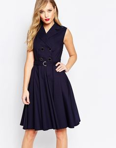 Image 1 of Closet Skater Dress with Button Detail and Belt