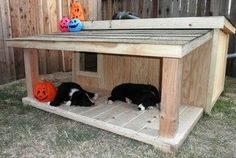 dog house plans -love the fact that it has a covered porch for the pets to rest or lounge around....to keep cool on hot/rainy days. Shelter Dogs, Animal Shelter, Animal Rescue, Insulated Dog House, Cat Condo, Dog Runs, Animal Projects, Cat Supplies, Animal House