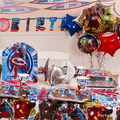Use Avengers decorations to transform your home into the ultimate superhero hideout. Click for Avengers birthday party ideas!