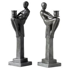 Pair Of Bronze Patinated Style Art Deco French Candlesticks Art Deco Lamps, Art Deco Fashion, Decorative Objects, Candlesticks, Candle Holders, Bronze, Pairs, Statue, French