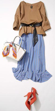 リゾート感覚のスカートをオンタイムでも着回し! 人気スタイリストMeguさんが休日っぽい軽やかさ・華やかさがありつつも、オンタイムにも使える、スカートスタイルをルミネ新宿 ルミネ1のアイテムから提案します!