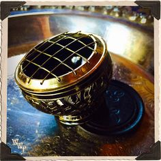 CHARCOAL BURNER with Brass Screen & Wooden Coaster, Incense Censer for herbs, resins and oils. For spellcasting, healing, meditation, ritual
