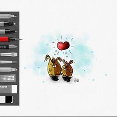 🎨 #Love is ... ❤️ #Liebe ist... ?  Kommentiere und ergänze mit deinen #Worten / deinem momentanen #Gefühl die #Antwort ... ☺️ #sketch #sketches  #girl #boy #peoples #instamood #hase #hasi #bunny #malen #herzen #herz #farben ✌️