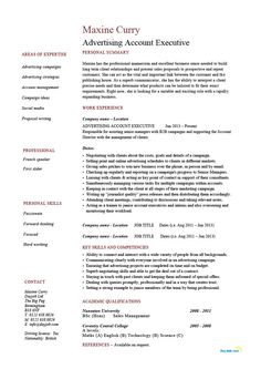 Advertising Account Executive Resume Classy Marketing Manager Resume Example Cv Template Skills India Sales .