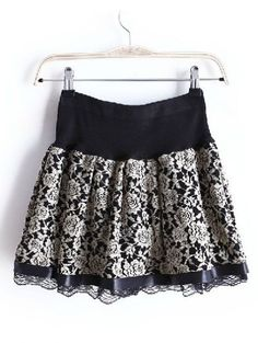 Khaki Elastic Waist Embroidery Lace Skirt I could also DIY this and make it into a cute top :)