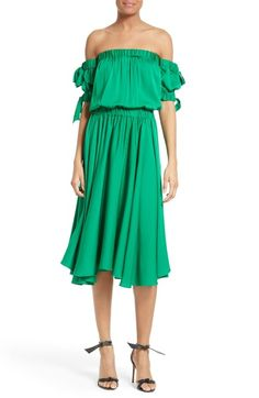 Milly Zoey Off the Shoulder Stretch Silk Midi Dress available at #Nordstrom