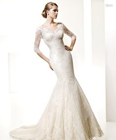 Not typically my taste to like sleeves on wedding gowns, but this is so classically beautiful  <3