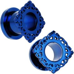 00 Gauge Blue PVD Filigree Frame Screw Fit Tunnel Plug Set