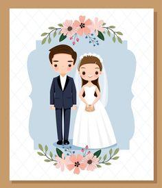 Bride And Groom Cartoon, Wedding Couple Cartoon, Cute Couple Cartoon, Graphic Wedding Invitations, Wedding Invitation Card Template, Floral Invitation, Tie The Knot Wedding, Bear Coloring Pages, Wedding Illustration