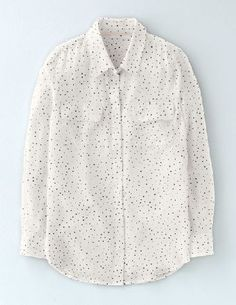 Boden Silk Shirt Ivory/Navy Scattered Spot Women Made from sand-washed silk, this oversized shirt with double pockets, a smart collar and a hidden button-up front is beautifully soft to the touch. Wear with tapered trousers and loafers to tap into t http://www.MightGet.com/january-2017-13/boden-silk-shirt-ivory-navy-scattered-spot-women.asp