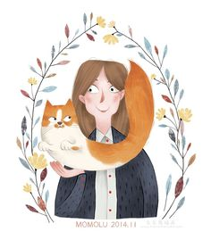 Momolu - Girl with cat  -Illustration